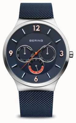 Bering Men's Classic   Brushed Silver   Blue Mesh Strap   Blue Dial 33441-307
