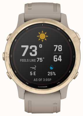 Garmin Fenix 6S Pro Solar | Light Gold With Light Sand Strap 010-02409-11