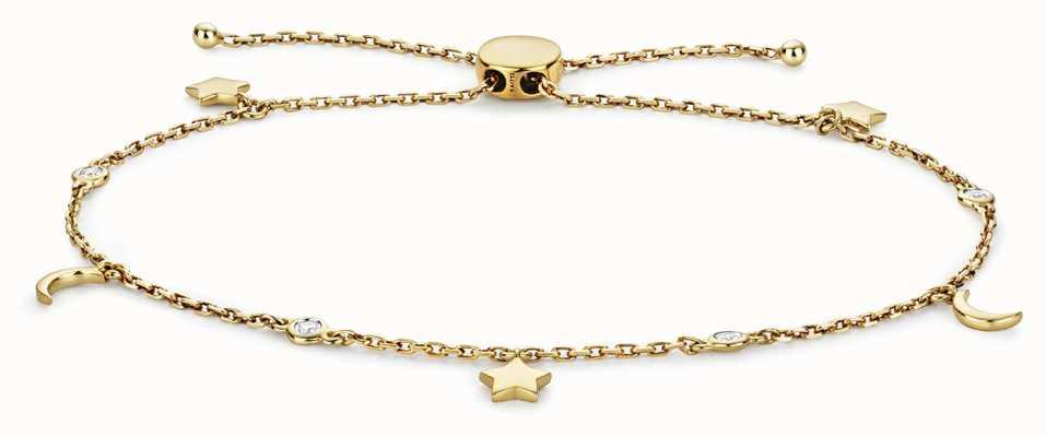 James Moore TH 9k Gold 0.08ct Diamond Stars And Moon Bracelet BD031
