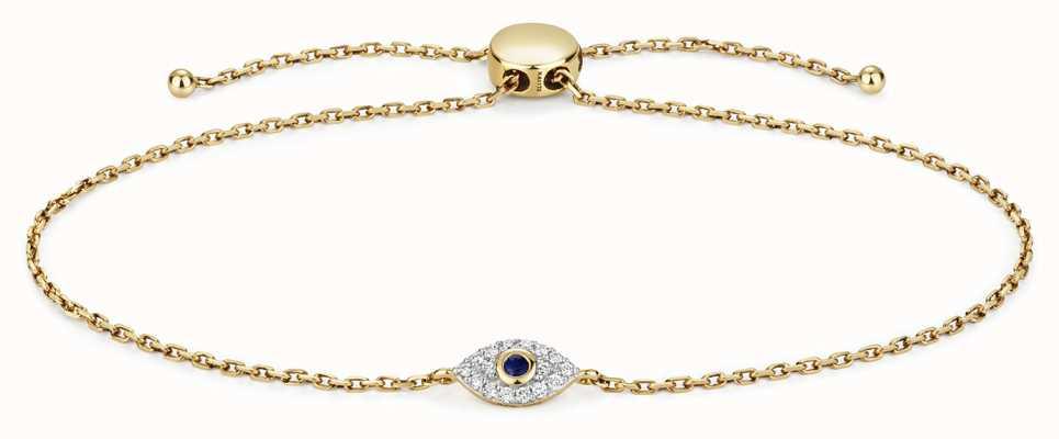 James Moore TH 9k Gold 0.09ct Diamond 0.3ct Sapphire Evil Eye Bracelet BD033