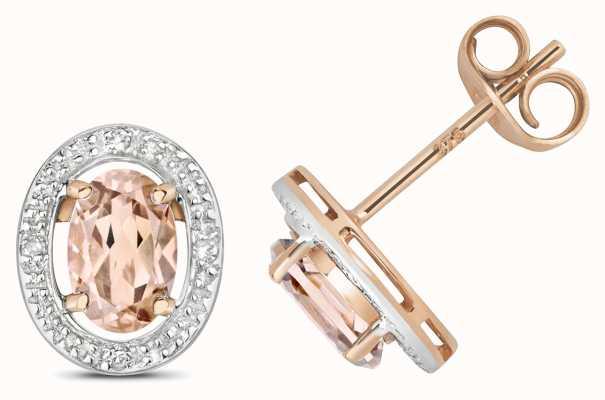 James Moore TH 9ct Rose Gold Diamond & Morganite Halo Studs ED267RM