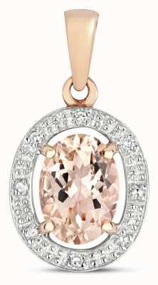 James Moore TH 9k Rose Gold Diamond & Morganite Halo Pendant PD251RM