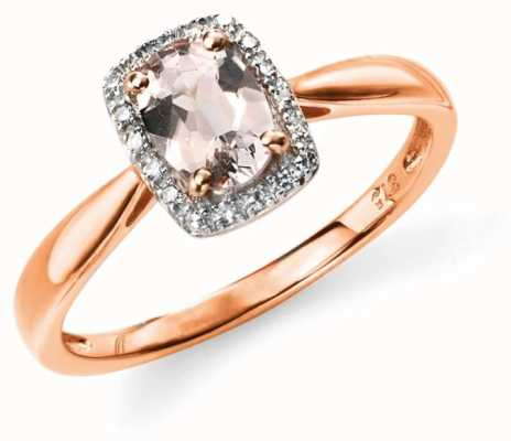 Elements Gold 9ct Rose Gold  Diamond And Pink Morganite Ring Size EU 54 (UK N) GR517P 54