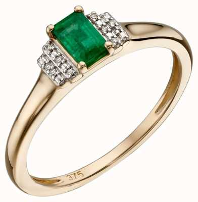 Elements Gold 9ct Yellow Gold Emerald And Diamond Deco Ring Size EU 54 (UK N) GR567G 54