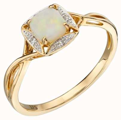 Elements Gold 9ct Yellow Gold Diamond And Round Opal Ring Size EU 56 (UK O 1/2 - P) GR569W 56