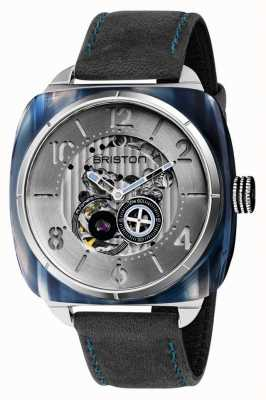 Briston Streamliner Skeleton Auto | Blue Acetate | Charcoal Leather 201042.SA.BL.2.B
