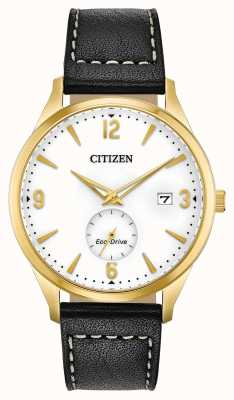 Citizen Men's Strap Eco-Drive Gold IP Case Black Leather Strap Watch BV1112-05A