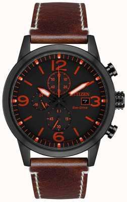 Citizen Eco-Drive Sport Brown Leather Strap   Black Dial CA0617-11E