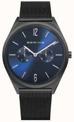 Bering Ultra Slim   Black Steel Mesh Bracelet   Blue Dial 17140-227