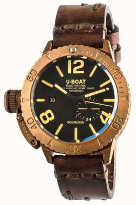U-Boat Sommerso 46 Bronze Automatic Brown Leather Strap 8486