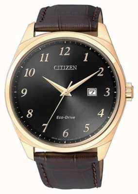 Citizen Men's Eco Drive Gold IP Brown Leather Strap Watch BM7323-11E
