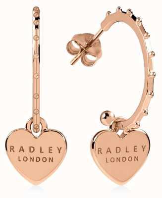 Radley Jewellery Sterling Silver 18ct Rose Gold Plated Heart Huggie Earrings RYJ1130