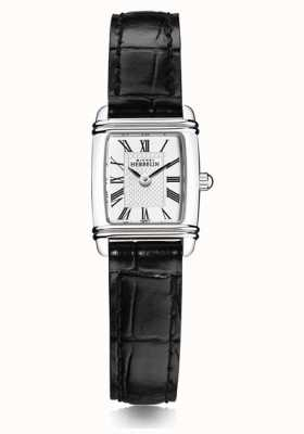 Michel Herbelin Women's Mini Art Deco | Black Leather Strap | White Dial 17438/08