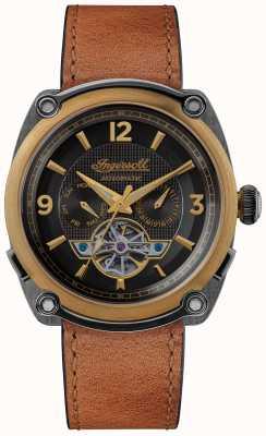 Ingersoll THE MICHIGAN | Watch Winder |Brown Strap Black Dial I01104