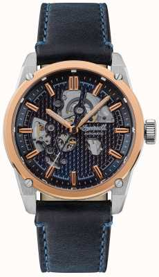 Ingersoll THE CARROLL Automatic Blue Skeleton Dial Blue Leather Strap I11602