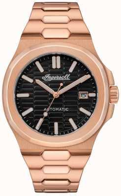 Ingersoll THE CATALINA Honeycomb Textured Black Dial Rose Gold Bracelet I11802