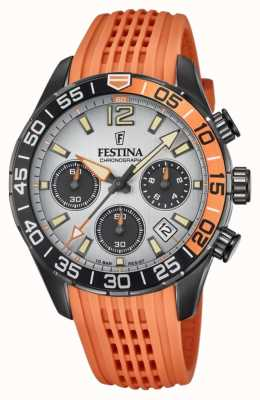 Festina Men's Chronograph | Orange Silicone Strap | Grey Dial F20518/1
