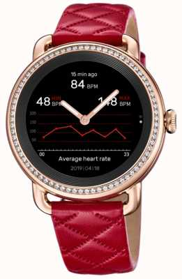 Festina SmarTime | Women's Red Leather Strap | Crystal Set | Colour Screen | F50002/3
