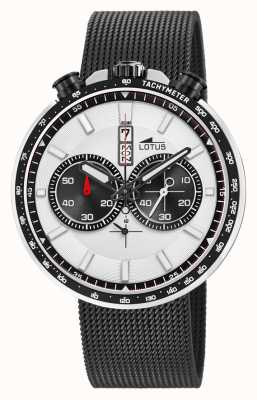 Lotus Men's Black Steel Mesh Bracelet | White/Black Dial L10139/1