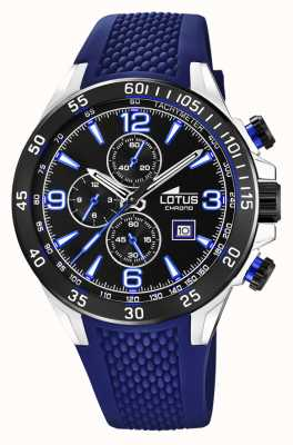 Lotus Men's Blue Silicone Strap | Black Chronograph Dial L18673/8
