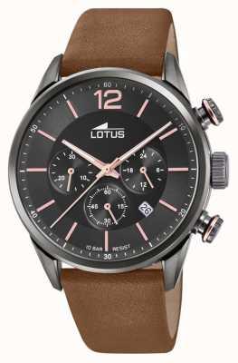 Lotus Men's Brown Leather Strap | Black Chronograph Dial L18687/2