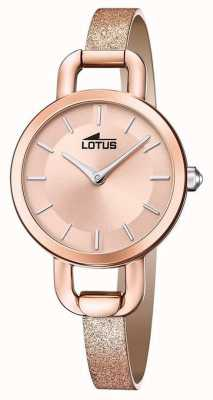 Lotus Women's Glitter Leather Strap   Rose Gold Dial L18747/1