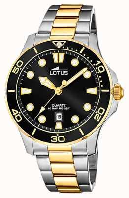 Lotus Men's Two-Tone Stainless Steel Bracelet | Black Dial L18760/2