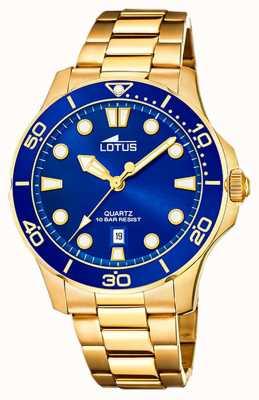 Lotus Men's Gold Plated Steel Bracelet | Blue Dial L18761/1