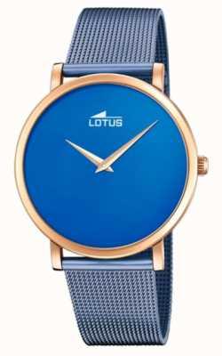 Lotus Women's Blue Steel Mesh Bracelet   Blue Dial   Rose Gold Case L18773/2