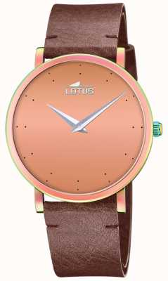 Lotus Women's Brown Leather Strap   Rose Gold Dial L18778/2