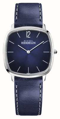 Michel Herbelin City   Men's Blue Leather Strap   Blue Dial 16905/15BL