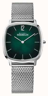 Michel Herbelin City   Men's Steel Mesh Bracelet   Green Dial 16905/16B