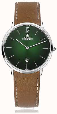 Michel Herbelin City   Men's Brown Leather Strap   Green Dial 19515/16NGO