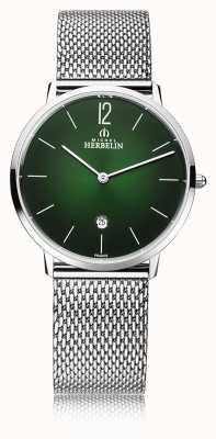 Michel Herbelin City   Men's Steel Mesh Bracelet   Green Dial 19515/16NB