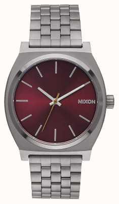 Nixon Time Teller   Gunmetal / Deep Burgundy   Gunmetal IP Bracelet   Burgundy Dial A045-2073-00