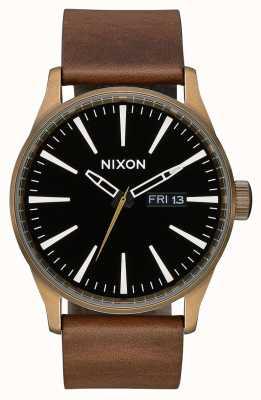 Nixon Sentry Leather | Brass / Black / Brown | Brown Leather Strap | Black Dial A105-3053-00