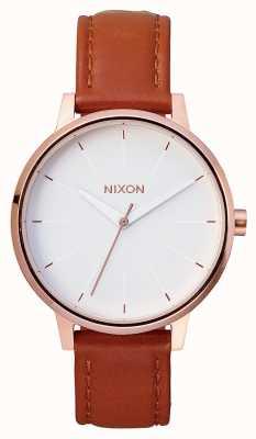 Nixon Kensington Leather   Rose Gold / White   Brown Leather Strap   White Dial A108-1045-00