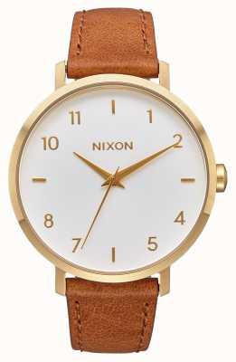 Nixon Arrow Leather   Gold / White / Saddle   Brown Leather Strap   White Dial A1091-2621-00