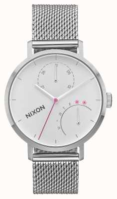 Nixon Clutch   All Silver   Stainless Steel Mesh   White Dial A1166-1920-00