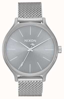 Nixon Clique Milanese   All Silver   Stainless Steel Mesh Bracelet   Silver Dial A1289-1920-00