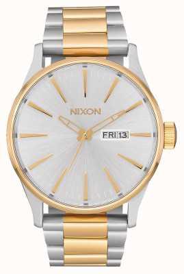 Nixon Sentry SS | Silver / Gold | Two Tone Steel Bracelet | Silver Dial A356-1921-00