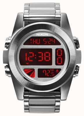 Nixon Unit SS   Silver / Red   Digital   Stainless Steel Bracelet A360-1263-00