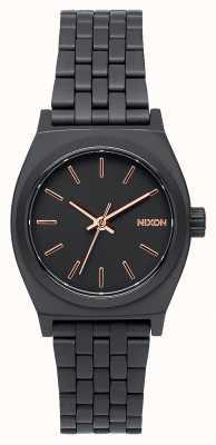 Nixon Small Time Teller   All Black / Rose Gold   Black IP Steel Bracelet   Black Dial A399-957-00