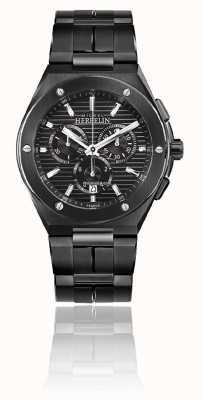 Michel Herbelin Cap Camarat Chrono   Black Steel Bracelet   Black Dial 37645/BN14