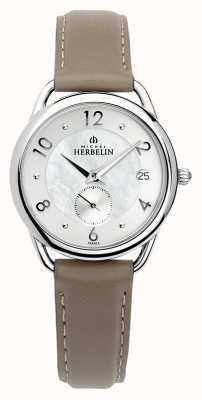 Michel Herbelin Equinoxe | Women's Brown Leather Strap | Mother Of Pearl 18397/29GR