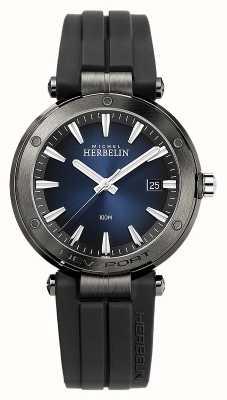 Michel Herbelin Men's Newport   Black Rubber Strap   Blue Dial 12288/G15CA