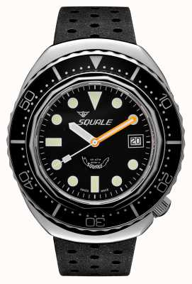 Squale 2002A Black Round Dots | Black Tropic Strap | Black Dial B083401-CINTRB22