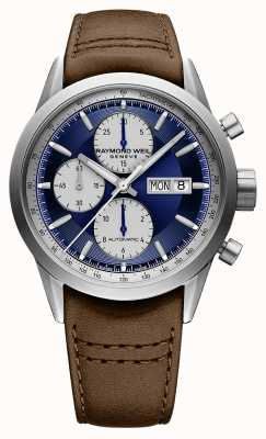 Raymond Weil Freelancer | Chrono | Automatic | Blue Dial | Brown Leather 7732-TIC-50421