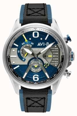 AVI-8 HAWKER HARRIER II   Chronograph   Blue Dial   Blue Leather Black Nato Strap AV-4056-01