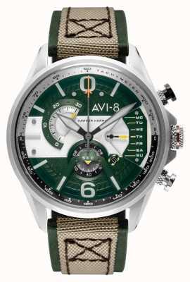 AVI-8 HAWKER HARRIER II   Chronograph   Green Dial   Green Leather Beige Nato Strap AV-4056-02
